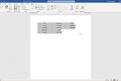 Using Tab Stops in Word- Instructions: A picture of a document showing the different types of tabs stops for selected paragraphs in Word within the horizontal ruler.