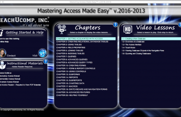 Buy Access 2016 Training - Product Release: A picture of the training interface for the digital download or DVD of Mastering Access Made Easy v.2016-2013.