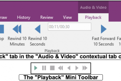 """Insert Audio and Videos into OneNote Pages- Tutorial: Pictures of the """"Playback"""" tab in the """"Audio & Video"""" contextual tab in the Ribbon of OneNote 2016 and the """"Playback"""" Mini Toolbar."""