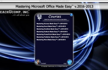Buy Microsoft Office 2016 Training: A picture of the training interface for the DVD version of Mastering Microsoft Office Made Easy v.2016-2013.