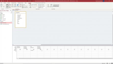 A picture showing how to hide a query field in Access.