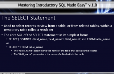 The SELECT Statement in SQL- Tutorial: A picture of the SELECT statement syntax in SQL.