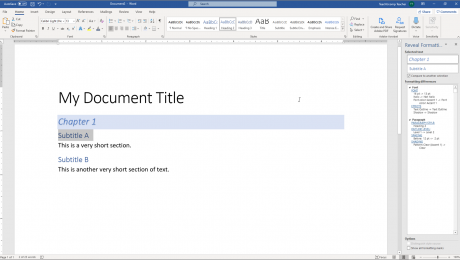 "Reveal Formatting in Word - Instructions and Video Lesson: A picture of a user comparing text formatting differences within the ""Reveal Formatting"" pane in Word."