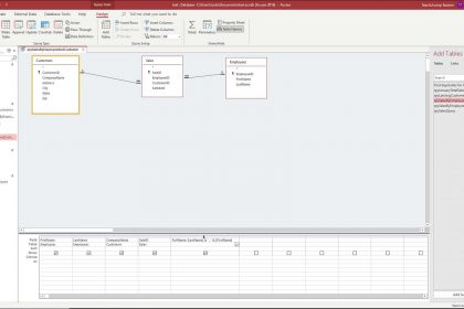 A picture that shows how to create a calculated field in Access in query design view.