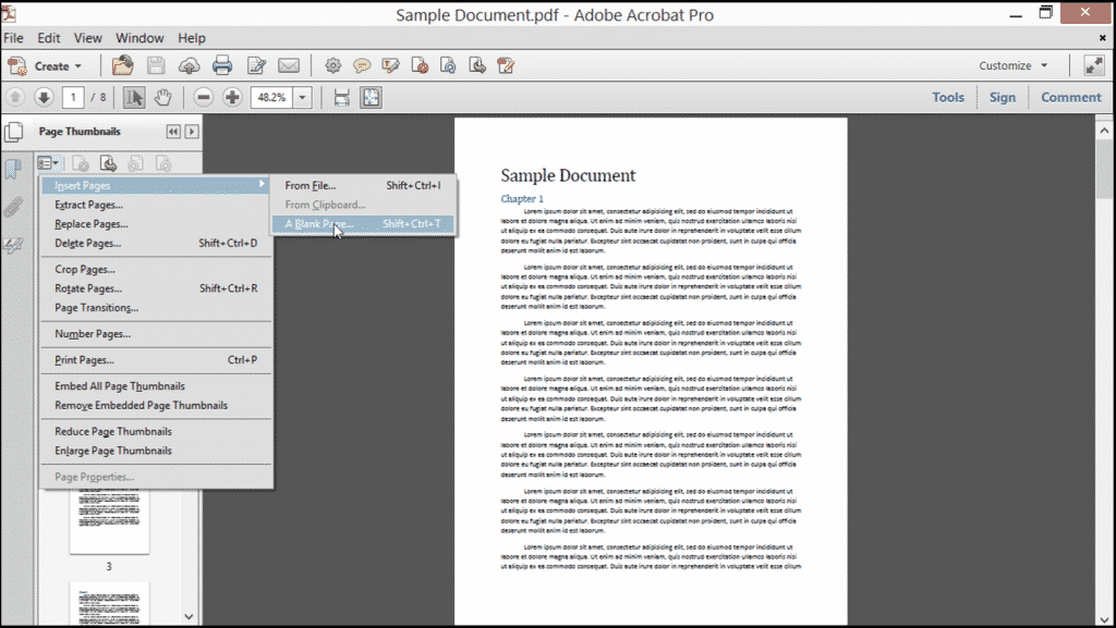 Insert Pages into a PDF in Acrobat - Tutorial: A picture of a user inserting pages into a PDF in Acrobat XI Pro.