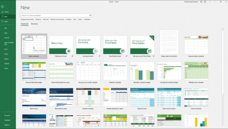 Create a New Workbook in Excel - Instructions: A picture of the workbook templates in Excel.