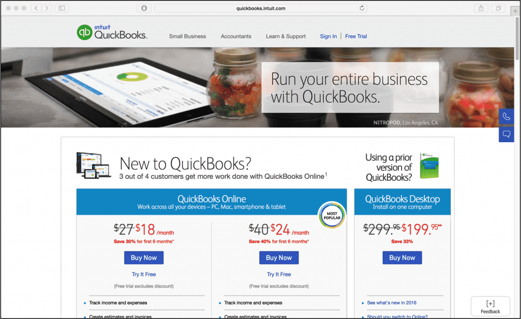 QuickBooks Pro 2016 Released- News: A picture of the Intuit QuickBooks Pro web site. Source: Intuit.