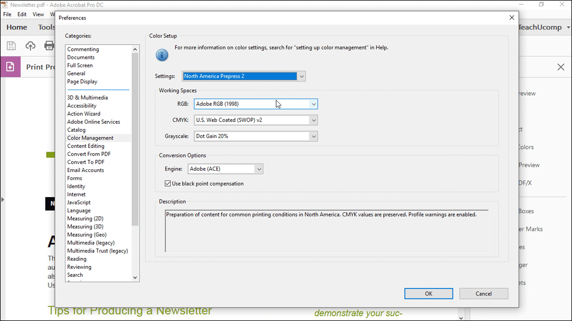 """Color Management in Acrobat - Instructions: A picture of the """"Color  Management"""" settings"""