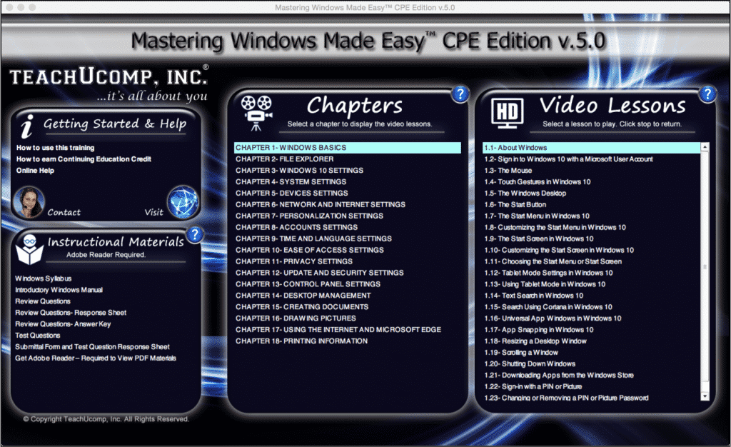 "Buy Windows 10 Training- New Product Release: A picture of the training interface for the Windows 10 CPE training titled ""Mastering Windows Made Easy CPE Edition v.5.0."""