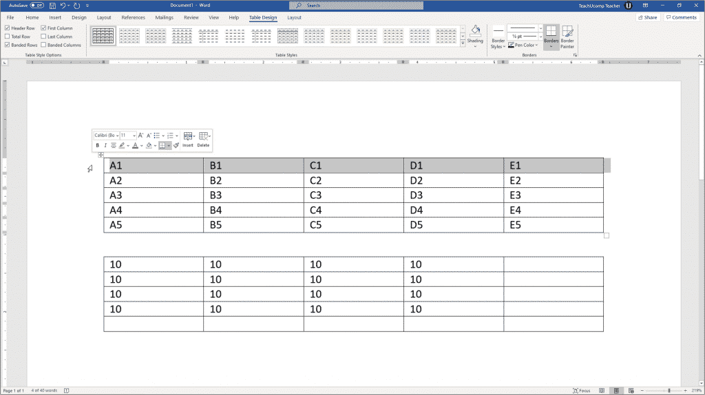 Insert Table Formulas in Word - Instructions: A picture of the cell addresses within a sample table, shown at the top of the Word document.