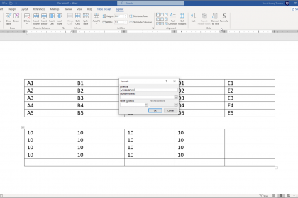 "Insert Table Formulas in Word - Instructions: A picture of the default table formula that Word suggests in the ""Formula"" dialog box."