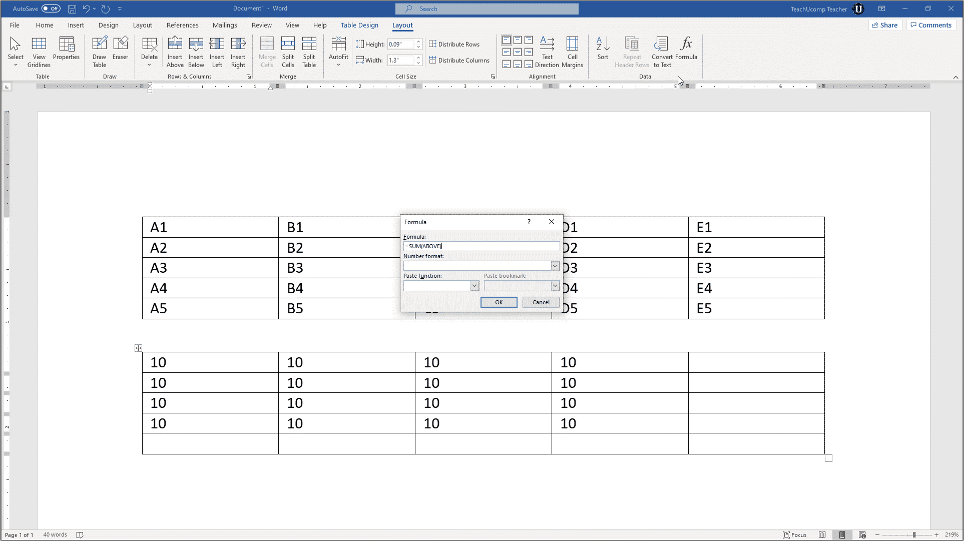 How to Put Excel Formulas in a Word Document