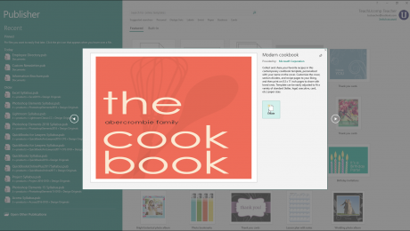 Create a New Publication in Publisher- Instructions: A picture of a user creating a new publication from a Publisher template.