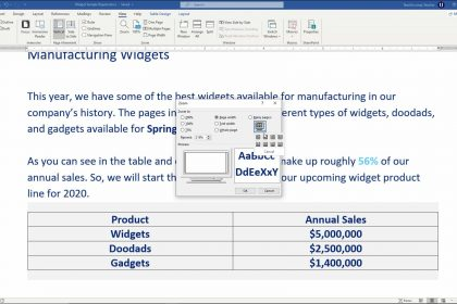 """A picture showing how to use the """"Zoom"""" dialog box to zoom a document in Word."""