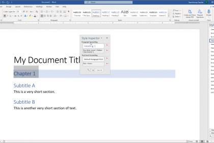 The Style Inspector Pane in Word - Instructions: A picture of the Style Inspector pane in Word.