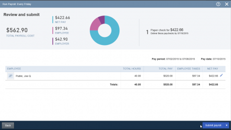 Create a Single Paycheck in QuickBooks Online- Tutorial: A picture of the