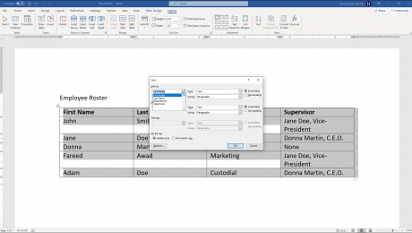 Sort a Table in Word - Instructions: A picture of a user sorting a table in Word.