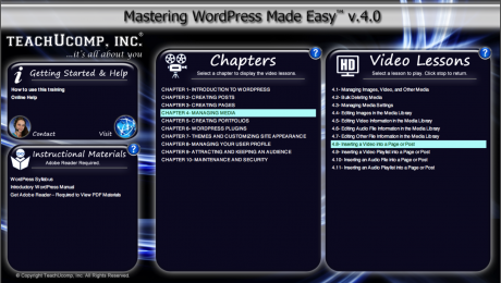 A picture of the WordPress tutorial interface for