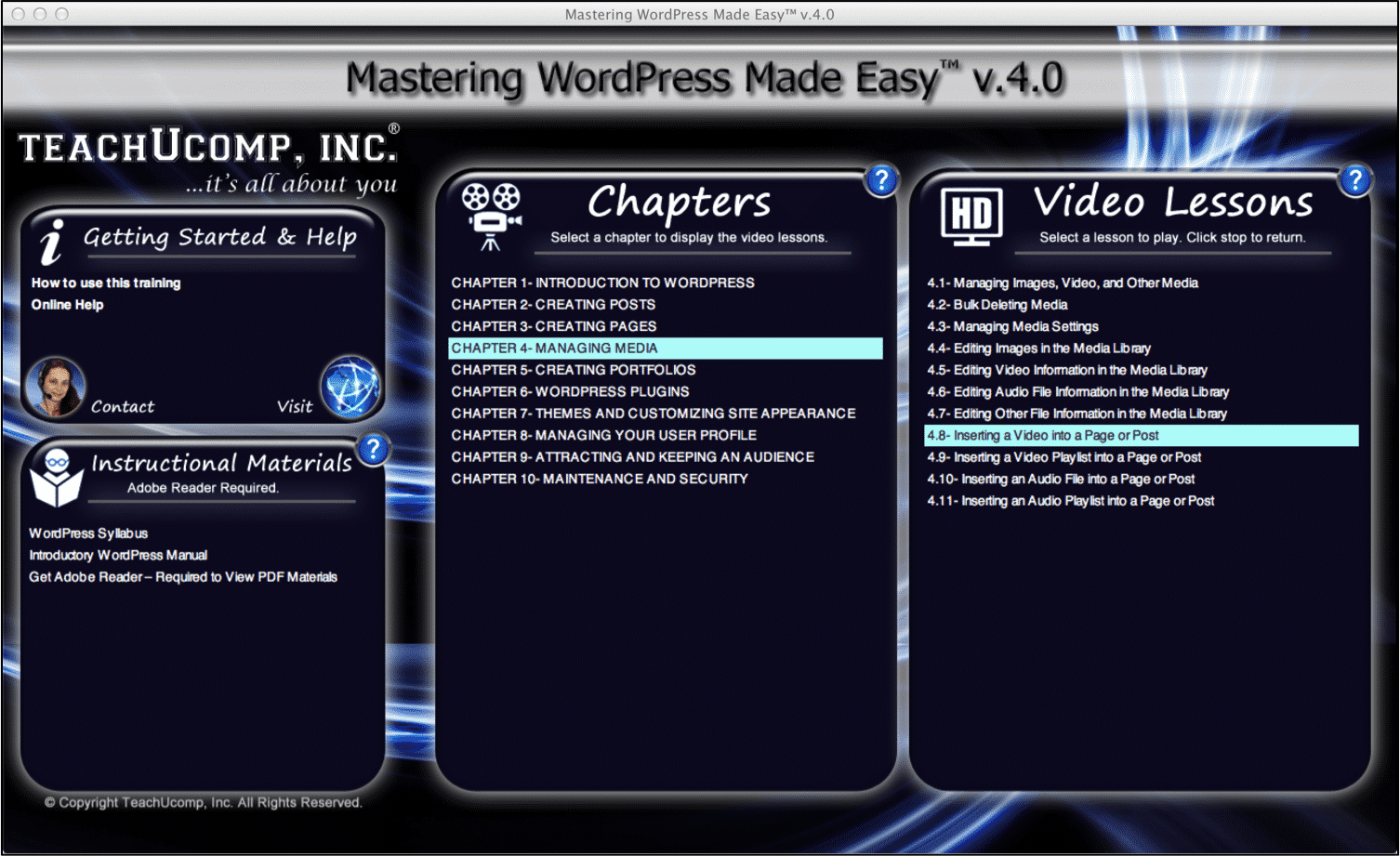 "A picture of the WordPress tutorial interface for ""Mastering WordPress Made Easy v.4.0."""