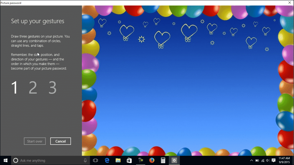 "Picture Password in Windows 10- Tutorial: A picture of the ""Set up your gestures"" screen that is used when creating a picture password in Windows 10."