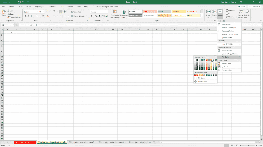 Change Worksheet Tab Color in Excel - Instructions: A picture of a user changing the worksheet tab color in Excel.