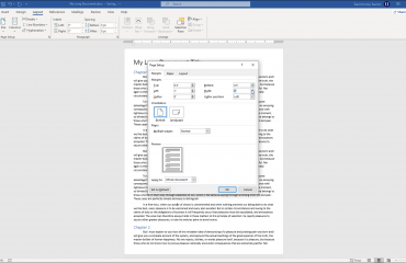 "Set Margins in Word - Instructions: A picture of the margin settings available in the ""Page Setup"" dialog box in Word."
