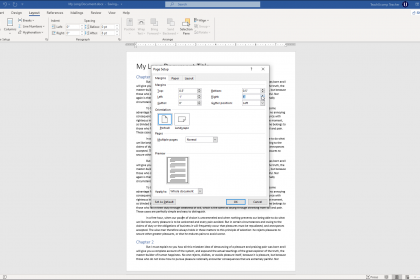 """Set Margins in Word - Instructions: A picture of the margin settings available in the """"Page Setup"""" dialog box in Word."""