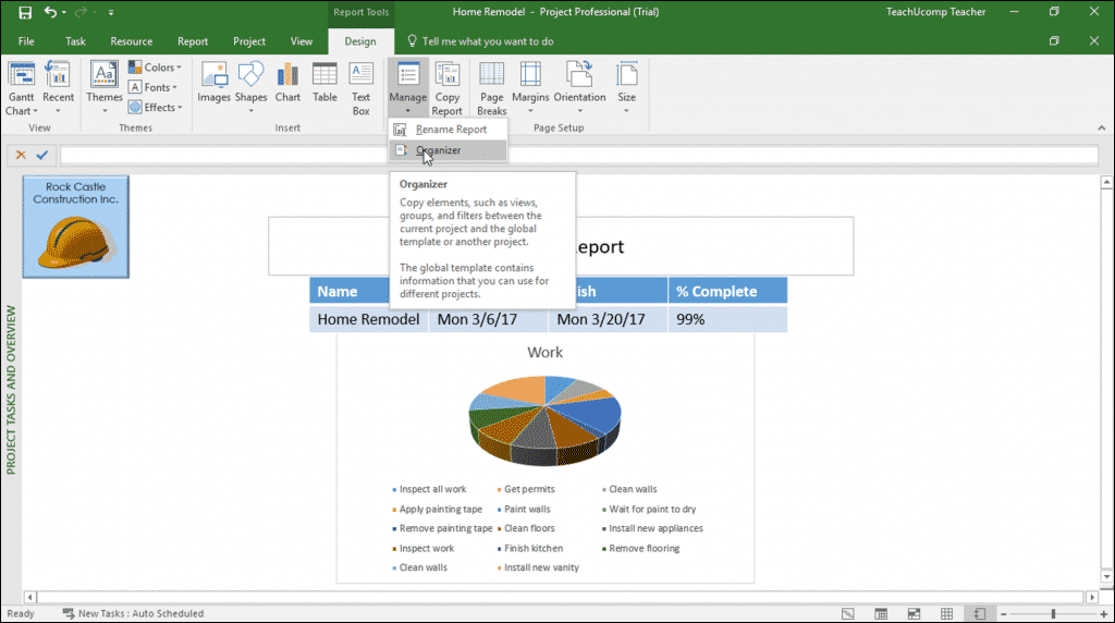 "Manage Reports in Microsoft Project - Instructions: A picture of the drop-down menu that appears when you click the ""Manage"" button in the ""Report"" button group on the ""Design"" tab of the ""Report Tools"" contextual tab in the Ribbon of Microsoft Project."