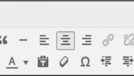 The Formatting Toolbar in WordPress- Tutorial: A picture of the Formatting toolbar in WordPress 4.0.