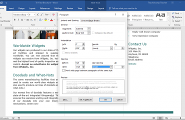 "Set Line Spacing and Paragraph Spacing in Word - Tutorial: A picture of the ""Paragraph"" dialog box in Word 2016."