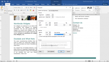 """Set Line Spacing and Paragraph Spacing in Word - Tutorial: A picture of the """"Paragraph"""" dialog box in Word 2016."""