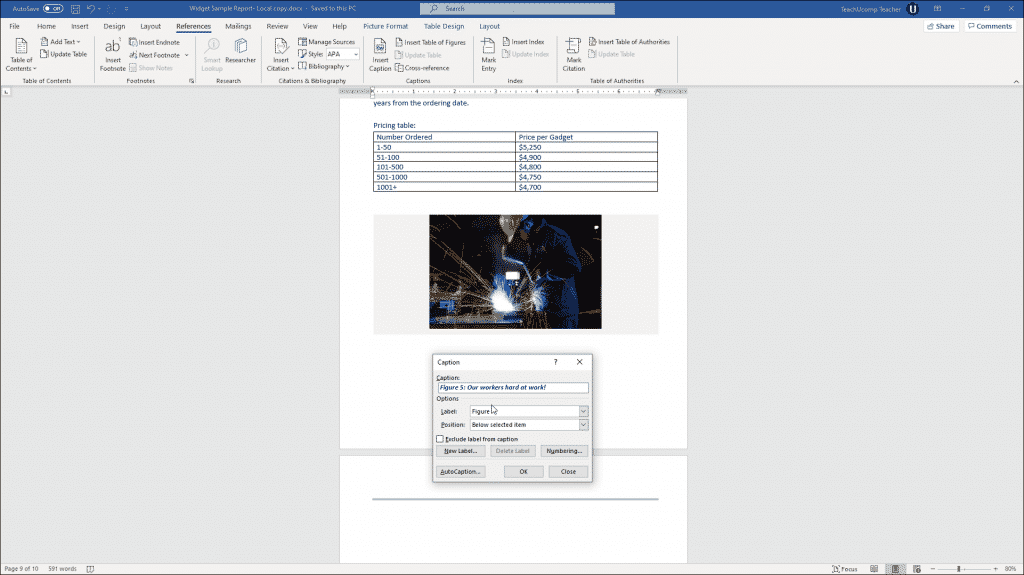 Add Captions in Word - Instructions: A picture of a user setting caption options in Word.
