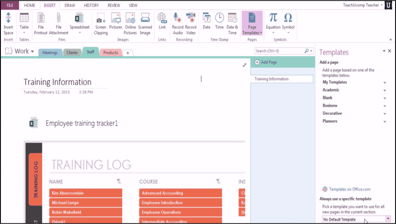 Microsoft OneNote 2013 Training: Using Templates