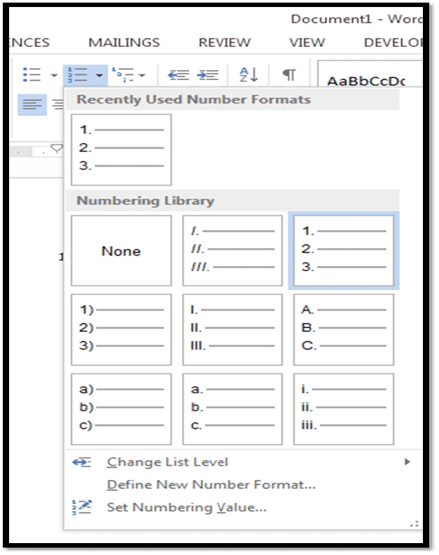 how to stop numbering in word
