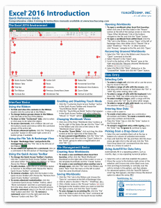 Excel 2016 Introductory Quick Reference Guide
