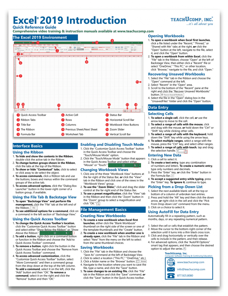 Buy Excel 2019 Quick Reference Cards: A picture of the first page of our four-page laminated cheat sheet for Excel 2019.