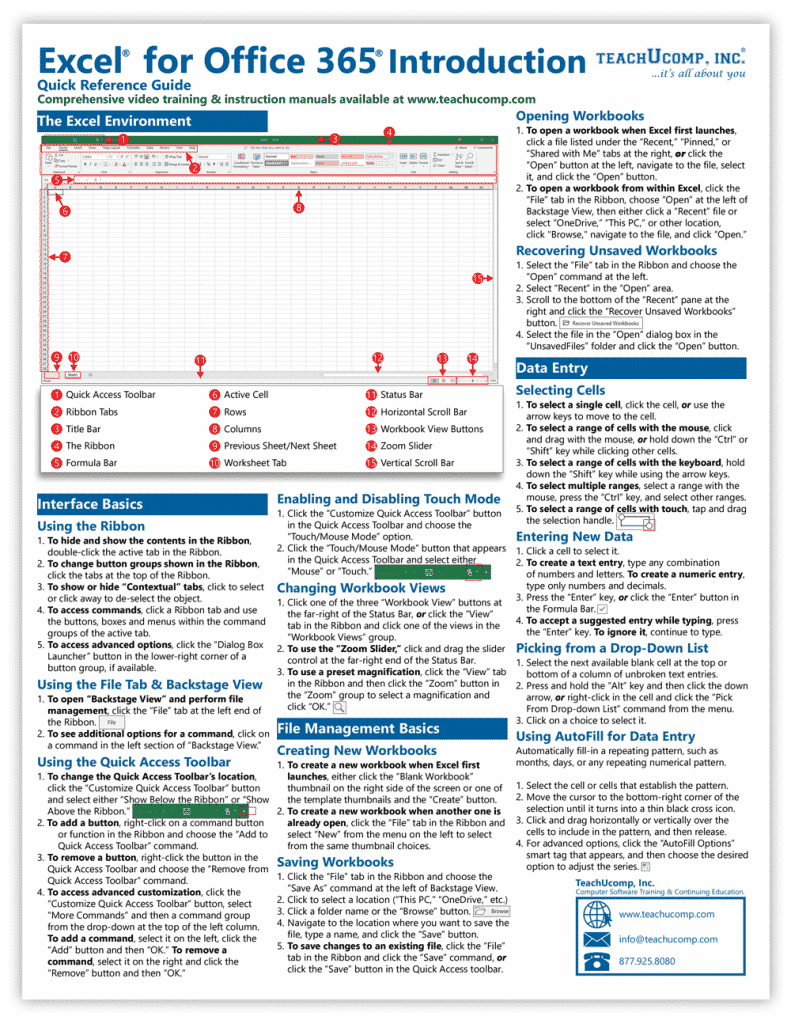 Buy Excel for Office 365 Quick Reference Cards: A picture of the first page of our four-page laminated cheat sheet for Excel for Office 365.