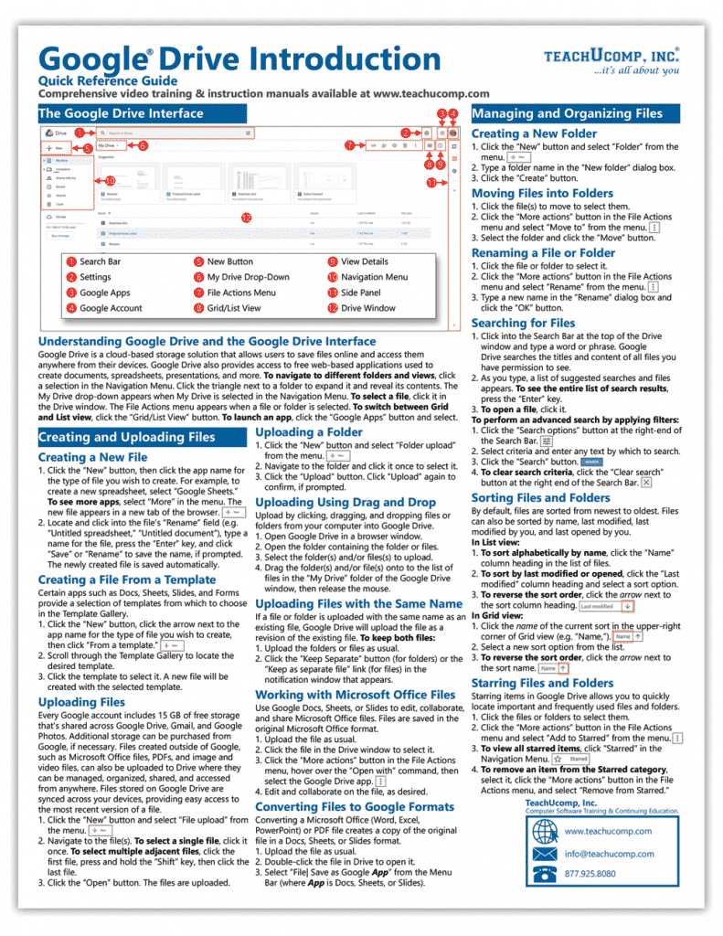 A picture of the first page of our Google Drive cheat sheet by TeachUcomp, Inc.