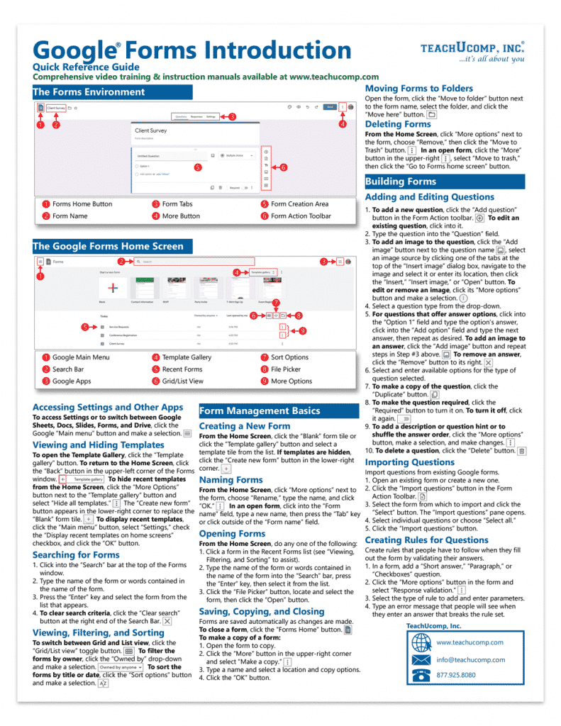 A picture of the first page of our Google Forms cheat sheet by TeachUcomp, Inc.