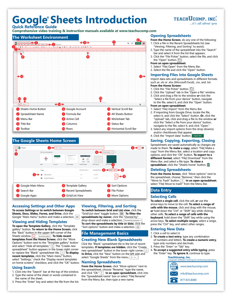 """Google Sheets Quick Reference Cards: A picture of the first page of the """"Google Sheets Introduction Quick Reference Guide"""" by TeachUcomp, Inc."""
