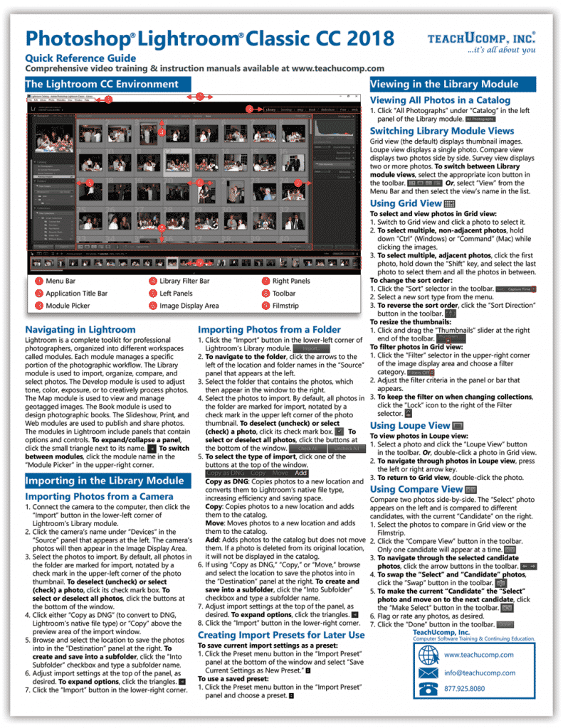 Buy Lightroom Classic CC Quick Reference Cards: A picture of the first page of the Lightroom Classic CC Quick Reference Card.