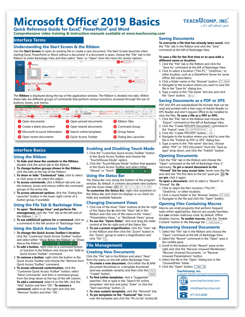 Buy Microsoft Office Quick Reference Cards at TeachUcomp, Inc: A picture of the first page of the Microsoft Office 2019 quick reference card.