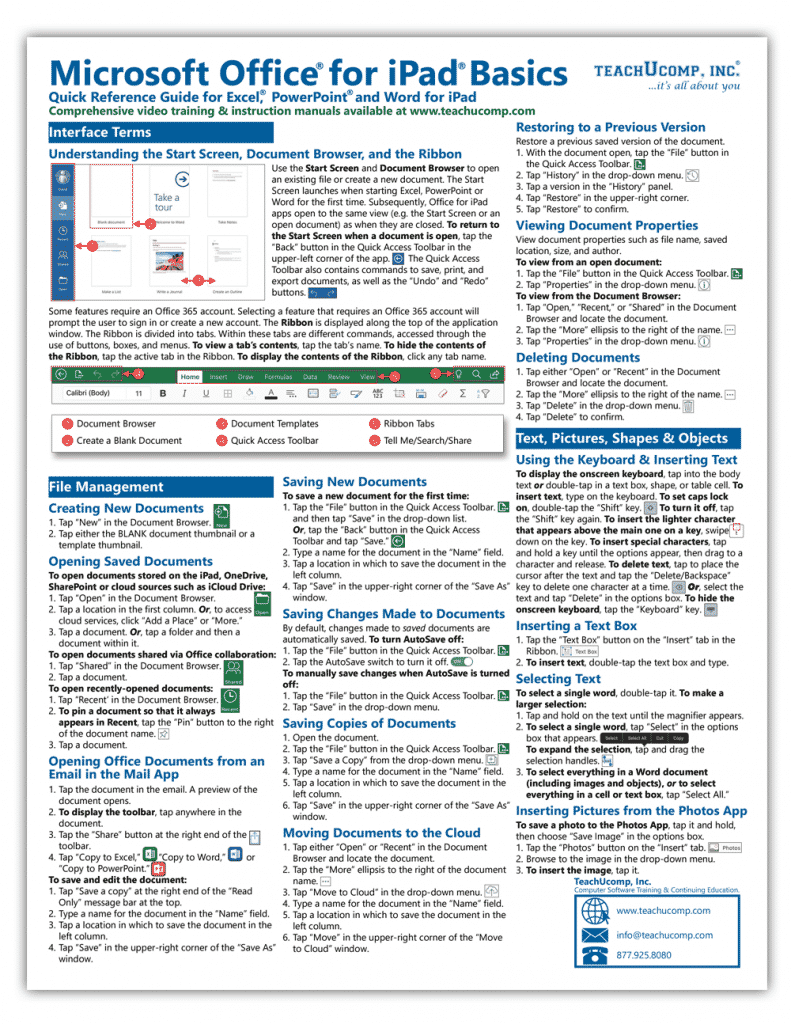 Buy Microsoft Office for iPad Quick Reference Cards: A picture of the first page of the Microsoft Office for iPad Quick Reference Card.