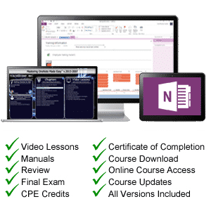 OneNote 2016 tutorial: A picture of the Microsoft OneNote tutorial and information about the Standard and CPE versions.