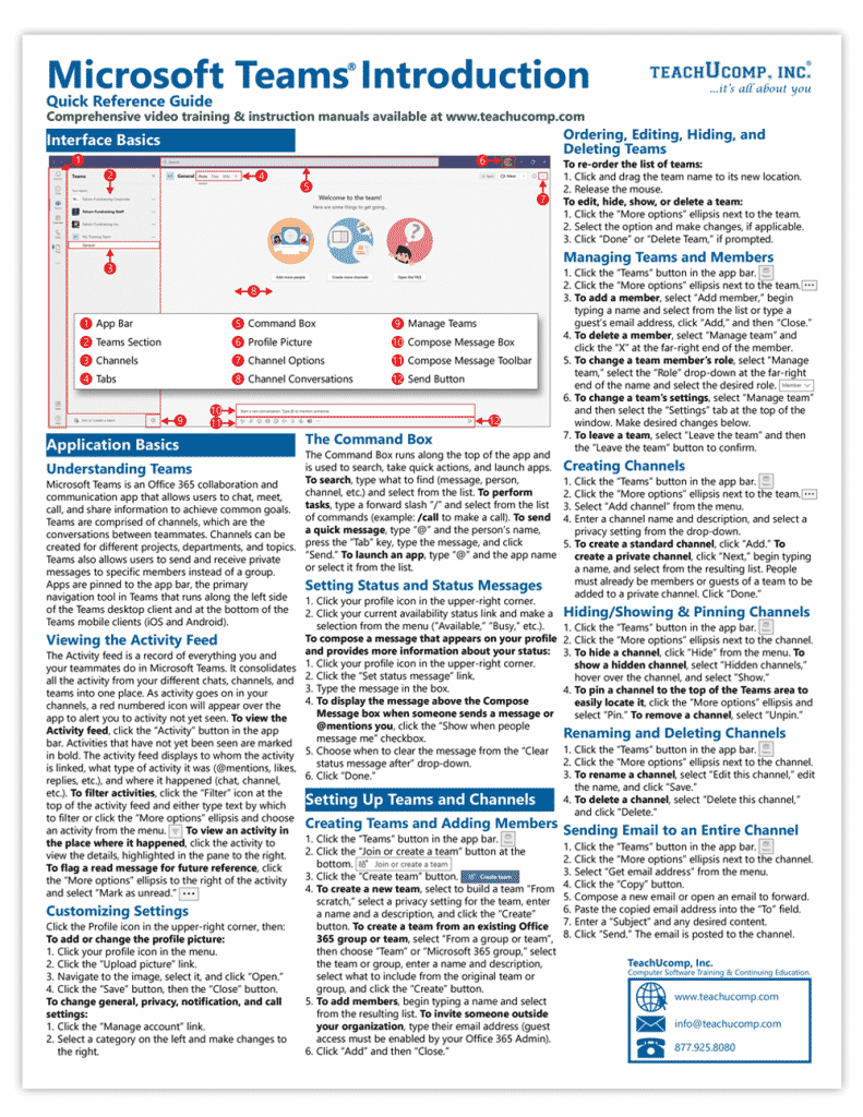 Buy Microsoft Teams Quick Reference Cards: A picture of the first page of our two-page laminated cheat sheet for Microsoft Teams.