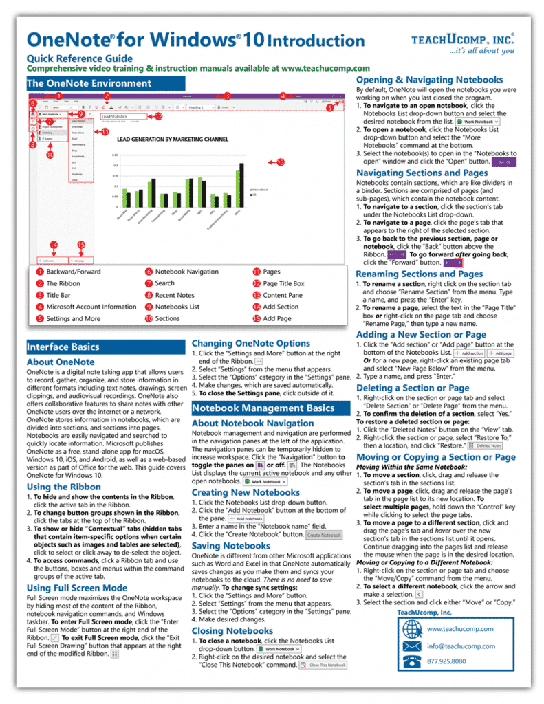 Buy OneNote for Windows 10 Quick Reference Cards: A picture of the first page of our four-page laminated cheat sheet for OneNote for Windows 10.