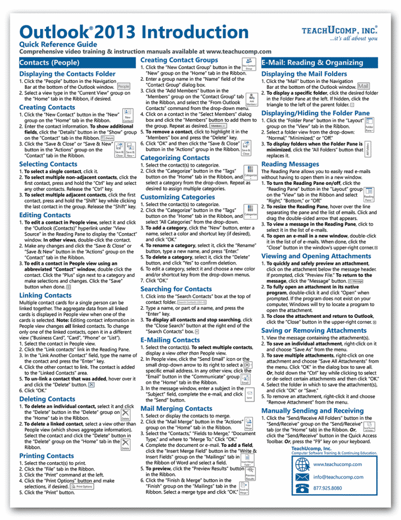 Buy Outlook 2013 Quick Reference Cards at TeachUcomp, Inc.: A picture of the first page of the Outlook 2013 cheat sheet from TeachUcomp, Inc.