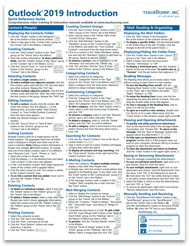 Buy Outlook 2019 Quick Reference Cards at TeachUcomp, Inc.: A picture of the first page of the Outlook 2019 Introduction Quick Reference Guide.