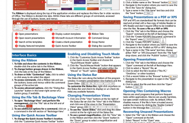 Buy PowerPoint Quick Reference Cards at TeachUcomp, Inc: A picture of the first page of the PowerPoint 2016 Quick Reference Card.