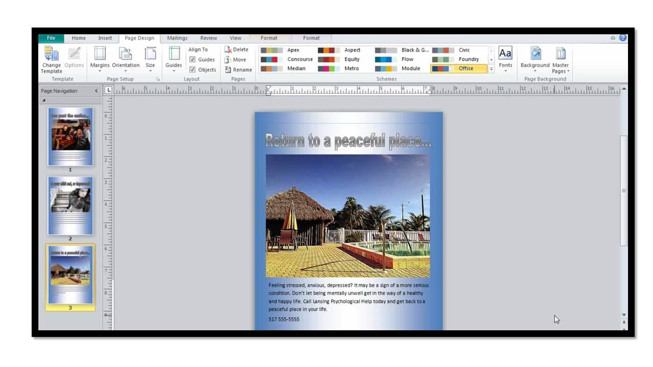 how to create custom backgrounds in microsoft publisher 2010